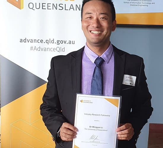 Dr Mingyan Li, Magnetica, with Industry Research Fellowship Award from the University of Queensland.